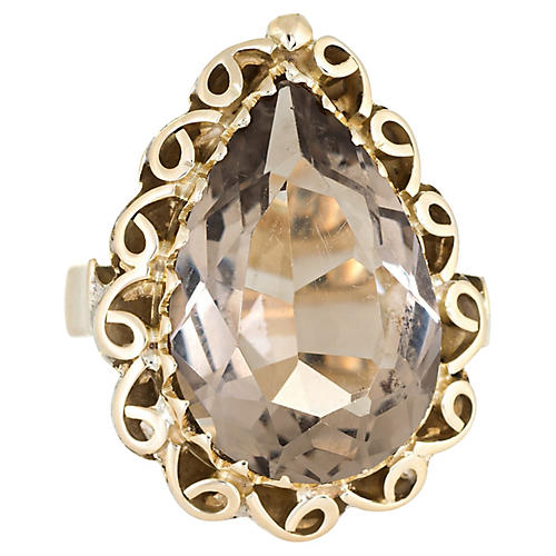 Smoky Quartz Cocktail Ring 14k Gold
