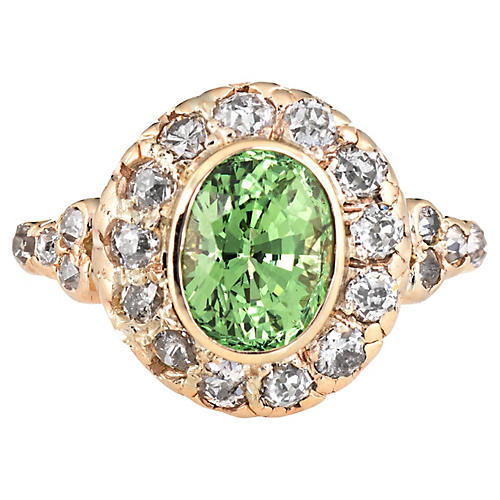 Art Deco Tsavorite Garnet Diamond Ring