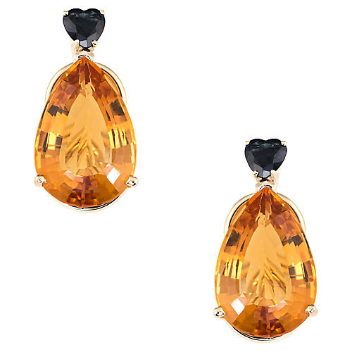 Citrine Heart Sapphire Earrings Clip On