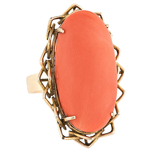 Large Coral Oval Cocktail Ring