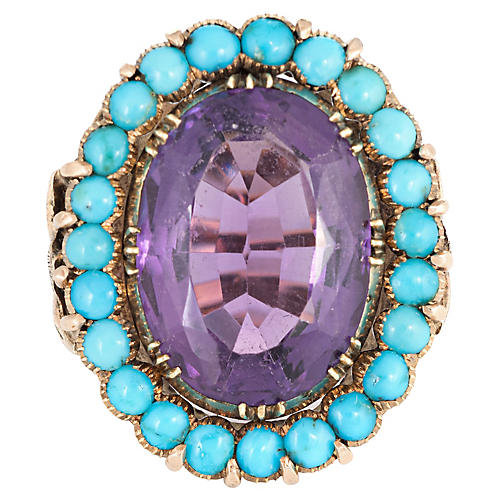 Amethyst Turquoise Ring 14k Gold