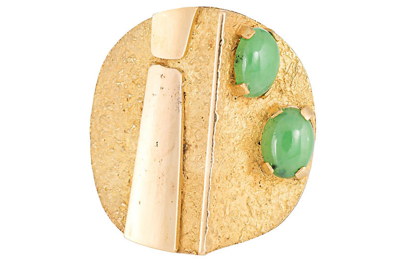 Vintage 70s Abstract Jade Ring 18k Gold