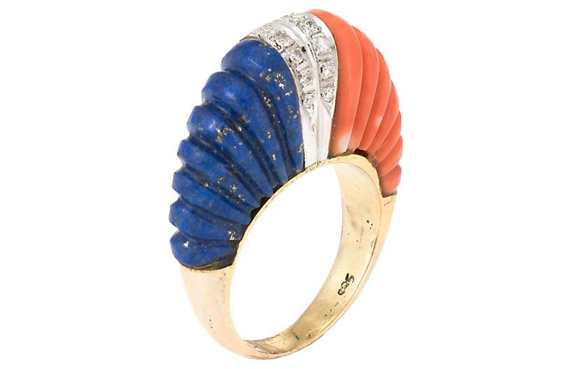 Fluted Coral Lapis Lazuli Diamond Ring
