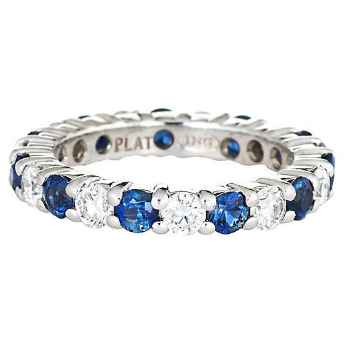 Diamond Sapphire Eternity Ring Sz 6