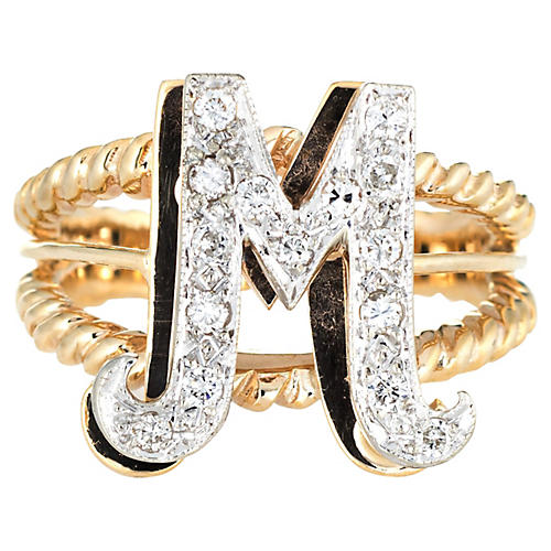 Letter M Ring Initial Jewelry
