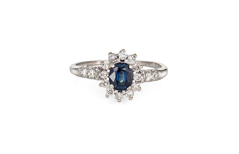 Sapphire & Diamond Princess Ring