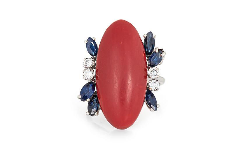 Sardinian Coral Sapphire Diamond Ring