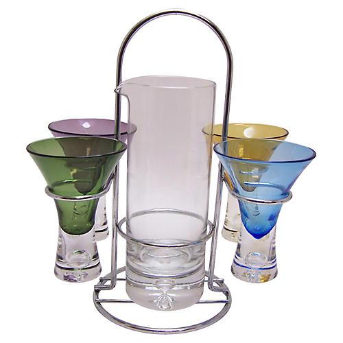 Cocktail Shot Glasses & Mixer, S/5