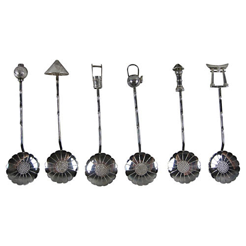 Sterling Lotus Bowl Teaspoons, Boxed S/6