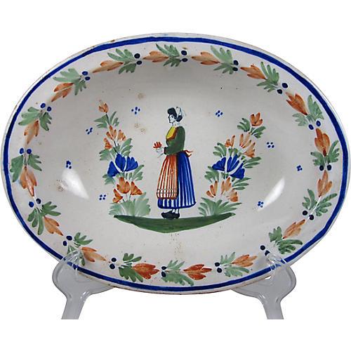 Henriot Quimper Rustic Oval Bowl, Woman