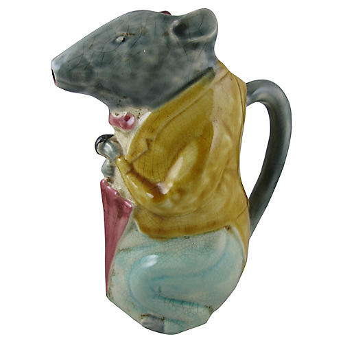 French Majolica City Badger Pitcher