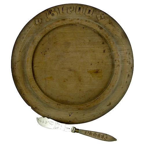 19th-C. English Bread Board & Spreader