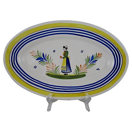 Oval Quimper Breton Femme Platter