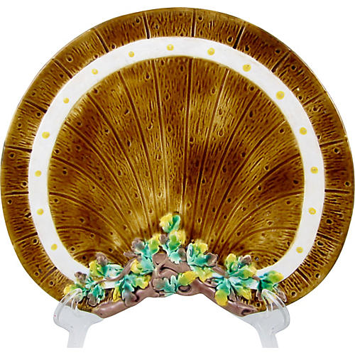 English Majolica Barrel & Ivy Plate