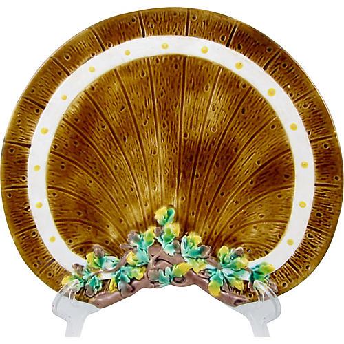 English Majolica Barrel & Ivy Plate