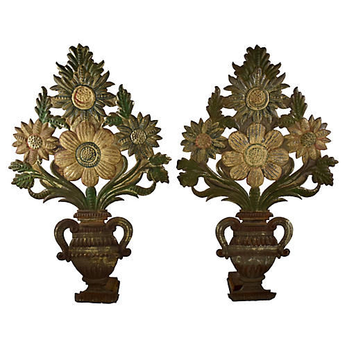 Tôle Peinte Bouquets in Urns, Pair