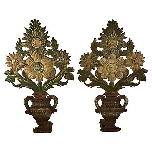 Tôle Peinte Bouquets in Urns, Pair
