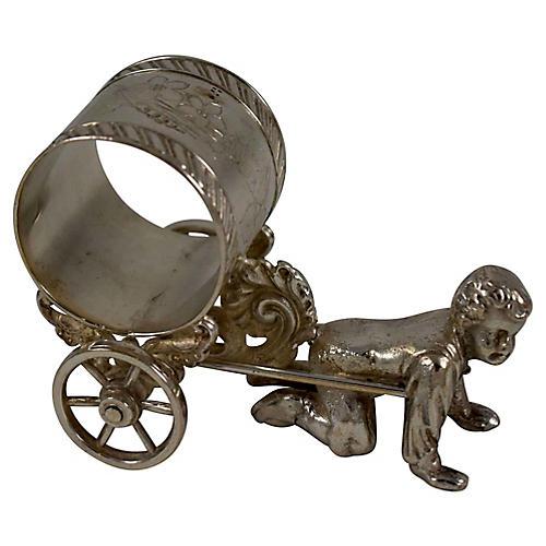 Boy & Cart Silver Figural Napkin Ring