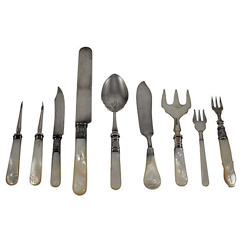 Pearl & Silver Serveware Set, S/9