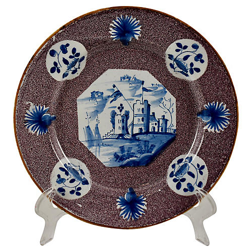 18-C English Bristol Delft Castle Plate