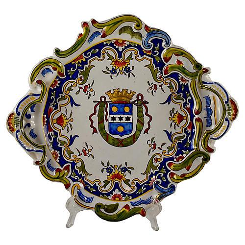 Cherbourg Armorial Faïence Platter
