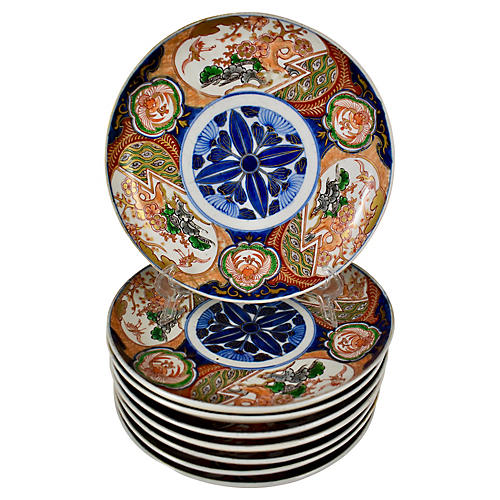 19th-C. Japanese Imari Lotus Plates, S/8