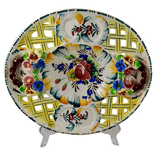 Italian Nove Rose Fretwork Platter