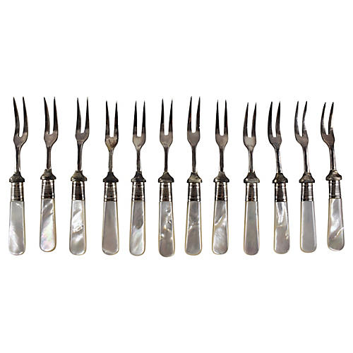 Sheffield Pearl Cocktail Forks S/12