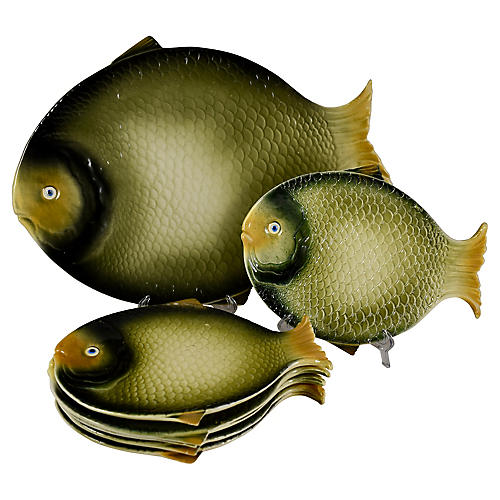 Midcentury Italian Fish Service Set, S/7