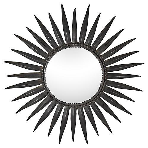 Midcentury French Iron Sunburst Mirror