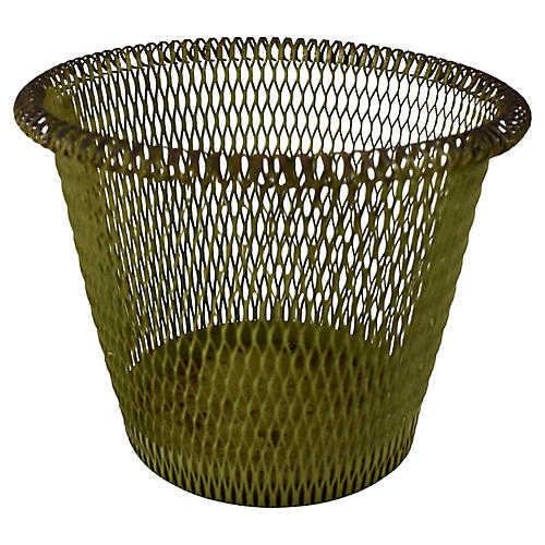 1890s French Moss Green Metal Basket