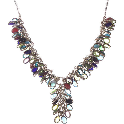 Sterling Coral & Amethyst Necklace