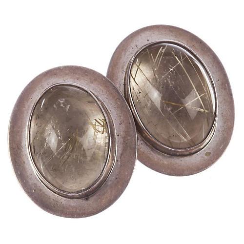 Sterling & Rutilated Quartz Earrings