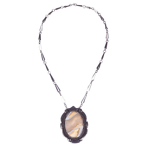 Russian Sterling Silver Agate Necklace