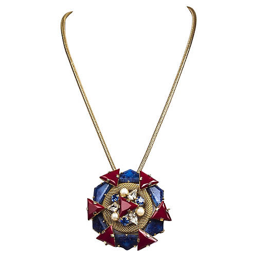 Brania Glass Pin Pendant Necklace