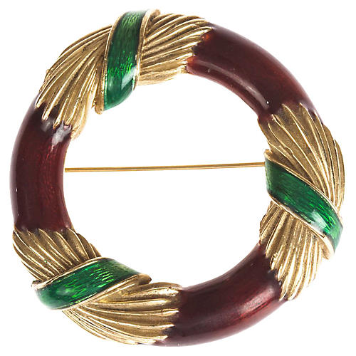 Ciner Enamel Wreath Pin