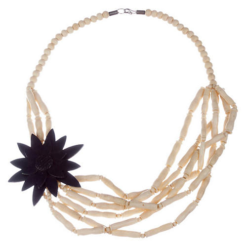 Indian Cow Bone Flower Bead Necklace