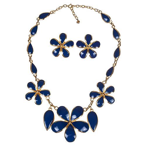 Balenciaga Gold & Blue Enamel Set