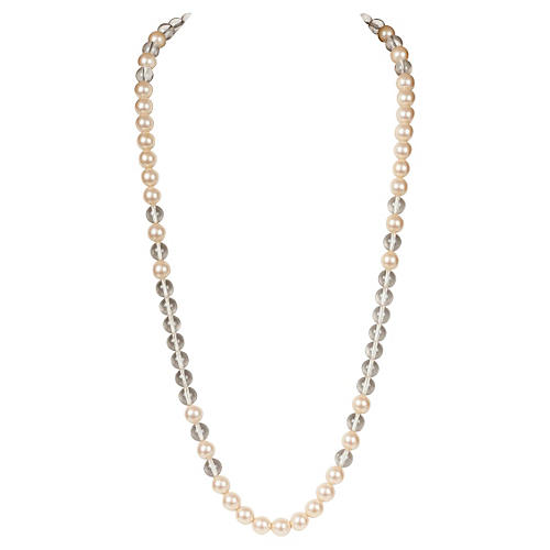 YSL Lucite & Faux-Pearl Necklace