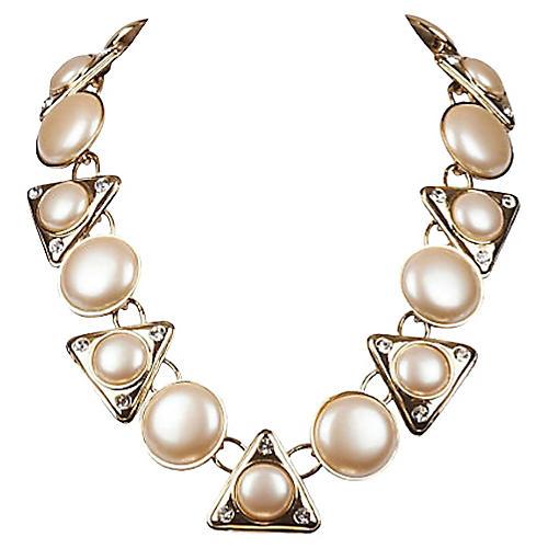 YSL Faux-Pearl & Rhinestone Necklace
