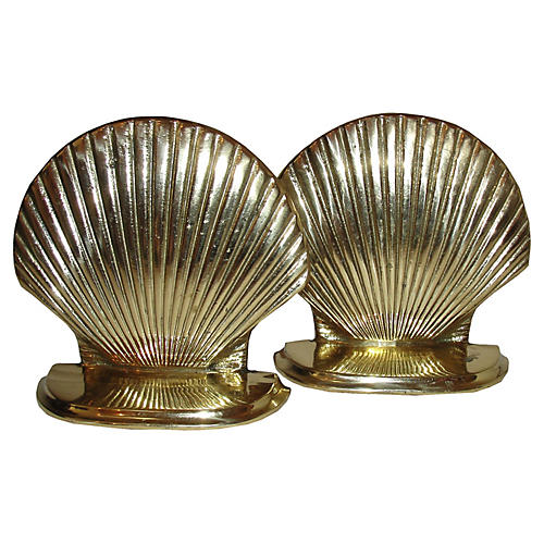 1970s Brass Shell Bookends, S/2