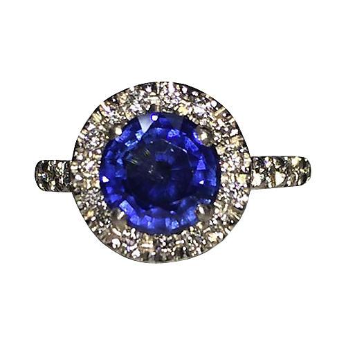 Platinum Pavé Diamond & Sapphire Ring