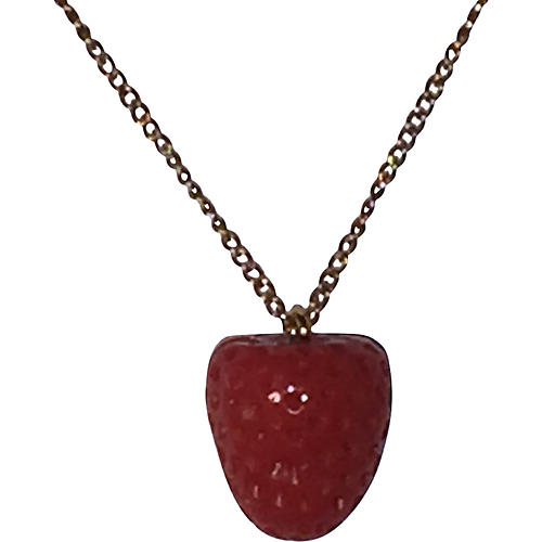 Strawberry Red Coral Charm Necklace