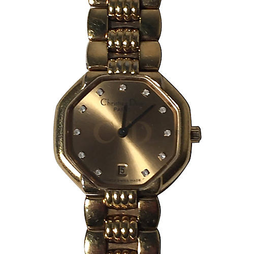 Dior Gold-Plated Diamond Watch