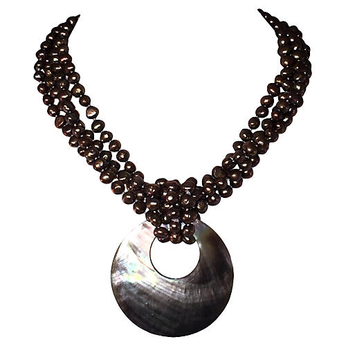 Grey Pearl Torsade Necklace with Abalone