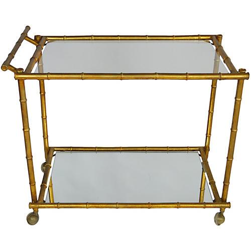Gilt & Bamboo-Style Bar Cart