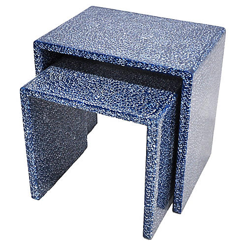 Blue Waterfall Nesting Tables, S/2