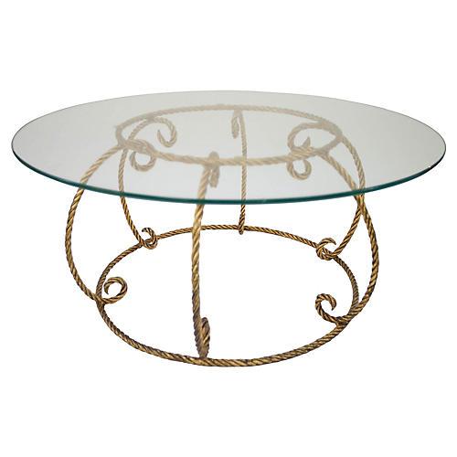 Italian Gilt Rope Coffee Table