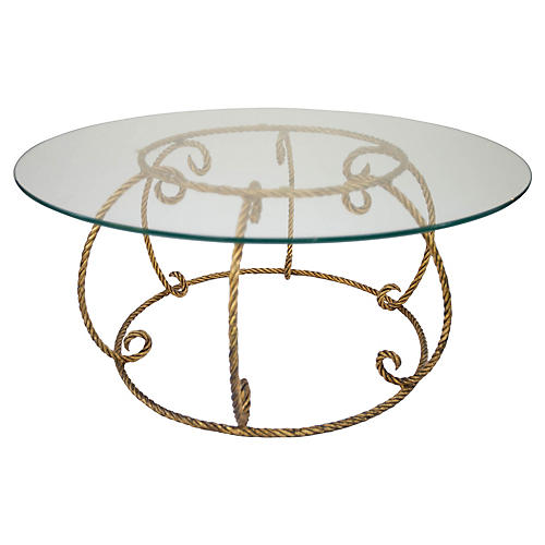 Italian Gilt Rope Coffee Table