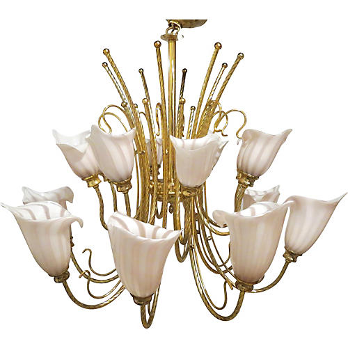 Murano Venini Brass Two-Tier Chandelier